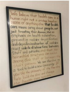 Image of the mission statement of KC CARE Health Clinic